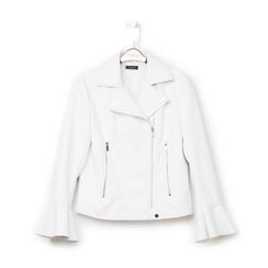 Biker jacket bianca in eco-pelle, con maniche scampanate, Primadonna, 136501875EPBIANL, 001 preview