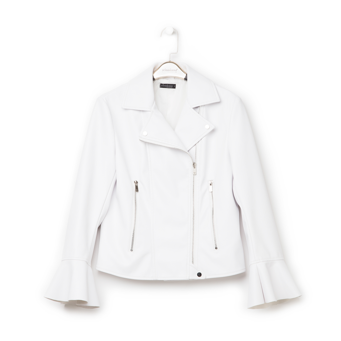 Biker jacket bianca in eco-pelle, con maniche scampanate, Primadonna, 136501875EPBIANL
