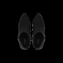 Tronchetti neri scamosciati, tacco medio 4 cm, Scarpe, 122707332MFNERO, 004 preview