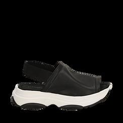 Sandali neri in eco-pelle, zeppa 4,50 cm , Scarpe, 136777206EPNERO036, 001a