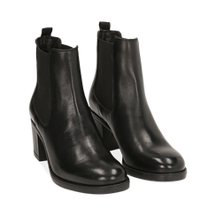 Ankle boots neri in pelle di vitello, tacco 6,50 cm , Primadonna, 16D808226VINERO035, 002 preview