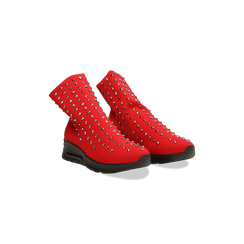 Sneakers rosse slip-on in lycra con cristalli, Primadonna, 122808611LYROSS035, 002