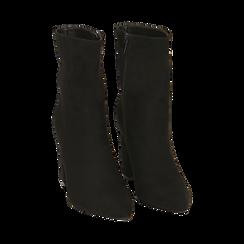 Ankle bottes en microfibre noir, talon 9,50 cm, Promozioni, 163026508MFNERO035, 002 preview