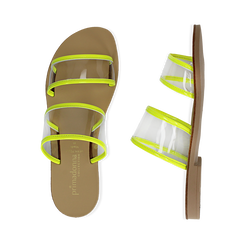 Mules flat gialle in vernice fluo con effetto see through, Primadonna, 136767001VEGIAL036, 003 preview