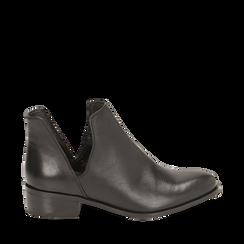 Bottines en cuir noir, talon de 3 cm, CHAUSSURES, 159407601PENERO036, 001a