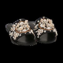 Ciabatte nere in rafia con conchiglie, Chaussures, 15K904446RFNERO036, 002 preview