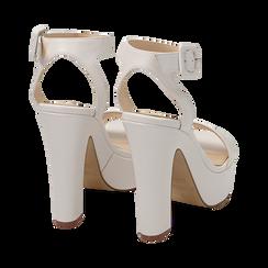 Sandalias en eco-piel color blanco, tacón 12,50 cm , OPORTUNIDADES, 158480410EPBIAN037, 004 preview