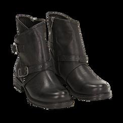 Biker boots neri con fibbie in eco-pelle, Stivaletti, 140721051EPNERO035, 002a