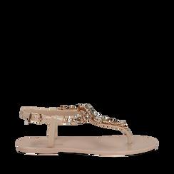 Sandali infradito nude in pvc con strass, Primadonna, 130900001PVNUDE035, 001a