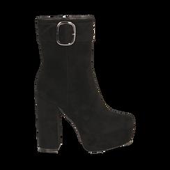 Ankle boots neri con plateau, tacco 13 cm , Scarpe, 144894154MFNERO036, 001a