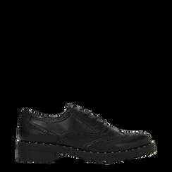Francesine stringate nera con mini-borchie e lavorazione Duilio, 120682916EPNERO037, 001a