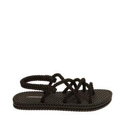Sandalias de mar negras de tela, 170909002TSNERO036, 001a