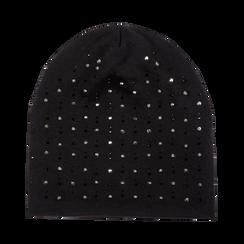 Berretto invernale nero in tessuto con strass, Saldi Abbigliamento, 12B490741TSNERO3XL, 001 preview