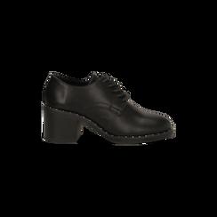 Francesine stringate nere con mini-borchie e punta tonda, Scarpe, 129322751EPNERO, 001 preview