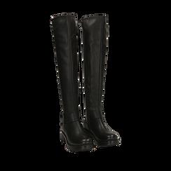 Stivali overknee neri con lavorazione bottalata, 163003615ELNERO036, 002a