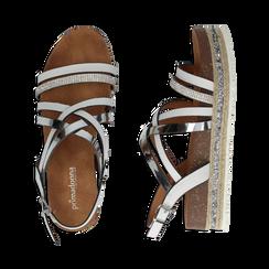 Sandali platform bianchi in eco-pelle, zeppa 4,50 cm , Primadonna, 111718503EPBIAN, 003 preview