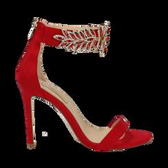 Sandali gioiello rossi in microfibra, tacco stiletto 10,5 cm, Scarpe, 132163151MFROSS035, 001a