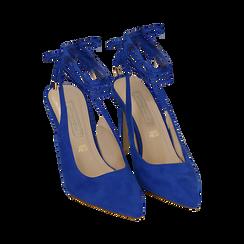 Slingback lace-up blu cobalto in microfibra, tacco 10 cm , Primadonna, 152120715MFBLCO035, 002 preview