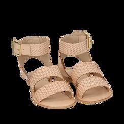 Sandali beige in pelle intrecciata, Primadonna, 156707446PIBEIG036, 002a