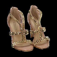 Sandali borchiati nude in vernice, tacco 11,50 cm, OUTLET, 152100920VENUDE038, 002 preview