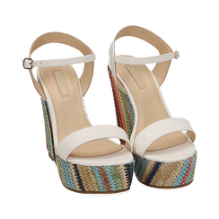 Sandali bianchi in eco-pelle, zeppa 12 cm , Chaussures, 154917229EPBIAN040, 002 preview