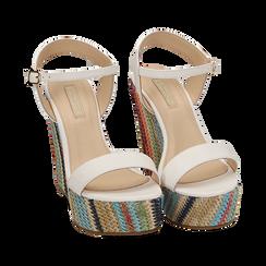 Sandali bianchi, zeppa 12 cm, Scarpe, 154917229EPBIAN040, 002 preview