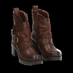 Biker boots cuoio con fibbie in eco-pelle, tacco 7 cm , Scarpe, 143091353EPCUOI035, 002a