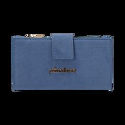 Portafogli azzurro in microfibra, Borse, 155122158MFAZZUUNI, 001 preview