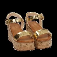 Sandales imprimé crocodile doré, compensée 7,50 cm, Primadonna, 154967318CCOROG039, 002a