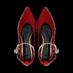 Ballerine rosse microfibra scamosciata con cavigliera e tacco basso, Primadonna, 124971303MFROSS035, 004 preview