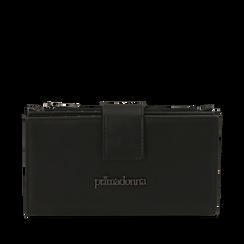 Portafogli nero in eco-pelle, Primadonna, 155122158EPNEROUNI, 001a