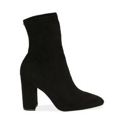 Ankle boots neri in microfibra, tacco 9,50 cm , Primadonna, 163026535MFNERO035, 001 preview