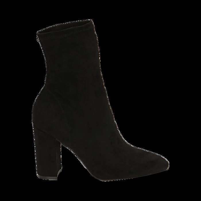 Ankle boots neri in microfibra, tacco 9,50 cm , Primadonna, 163026535MFNERO035