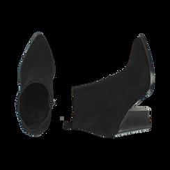Ankle boots neri in microfibra, tacco 8,50 cm, Primadonna, 160585965MFNERO035, 003 preview