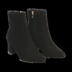 Ankle boots neri in microfibra, tacco 6 cm , Stivaletti, 144916811MFNERO037, 002 preview
