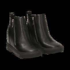 Slip-on nere in eco-pelle, zeppa interna 8 cm, Scarpe, 142008355EPNERO035, 002 preview