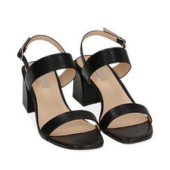 Sandali neri stampa pitone, tacco 6,50 cm, Primadonna, 152790111PTNERO036, 002a
