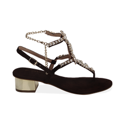 Sandali neri in microfibra con pietre, tacco 3,5 cm, Primadonna, 154927101MFNERO036, 001 preview