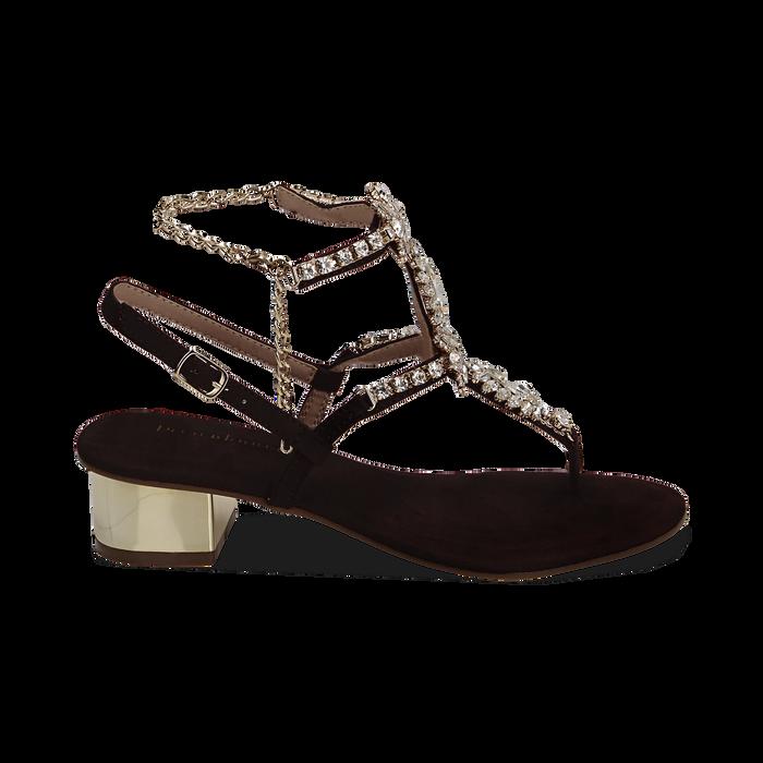 Sandali neri in microfibra con pietre, tacco 3,5 cm, Primadonna, 154927101MFNERO036
