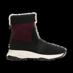 Sneakers nero-rosse sock boots con suola in gomma bianca, Scarpe, 124109763TSNERS, 001 preview