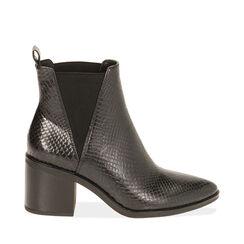 Ankle boots noirs imprimé vipère, talon 7,5 cm , Primadonna, 180622612EVNERO035, 001a