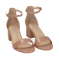 Sandali nude stampa pitone tacco 5,50 cm, OUTLET, 152707031PTNUDE040, 002 preview