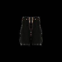 Tronchetti neri con profili decorati, tacco 7,5 cm, Scarpe, 122181619MFNERO, 003 preview