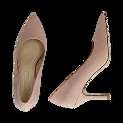 Décolleté en microfibra color nude, tacón 9 cm , Zapatos, 152182992MFNUDE036, 003 preview