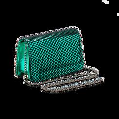 Pochette verde a rete in ecopelle effetto specchio, Primadonna, 123308810SPVERDUNI, 003 preview