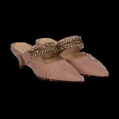 Mules nude in microfibra con cristalli, tacco 5 cm, Scarpe, 134942558MFNUDE036, 002 preview