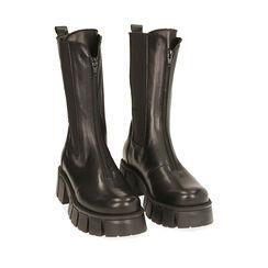 Botines Chelsea de piel negra, tacón 5 cm, Primadonna, 18L603082PENERO035, 002a