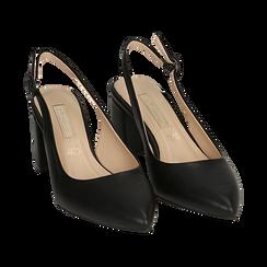 Escarpins en simili-cuir noir, talon 6,5 cm , Chaussures, 152123920EPNERO037, 002 preview