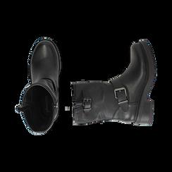 Biker boots con fibbie neri in eco-pelle, tacco 4,5 cm , Stivaletti, 14A702711EPNERO035, 003 preview