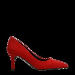 Décolleté scamosciate rosse con punta affusolata, tacco medio 7,5 cm, Scarpe, 122111552MFROSS036, 001a